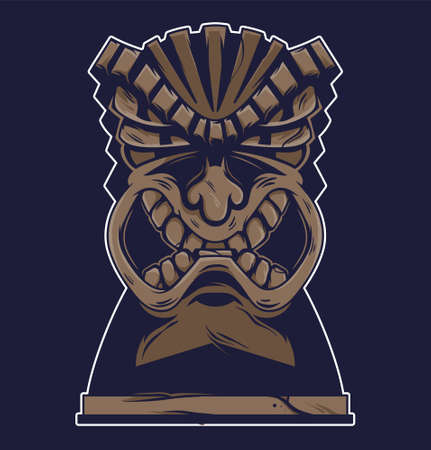 Vintage Hawaii tribal angry tiki mask isolated vector cartoon character illustration drawing graphic for poster print surfing style design sticker t shirt.