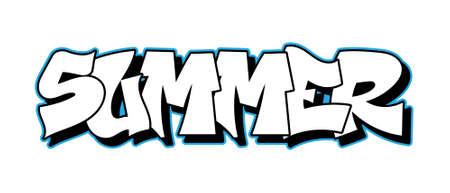Old school inscription Summer Graffiti decorative lettering vandal street art free wild style on the wall city urban illegal action by using aerosol spray paint Underground hip hop vector illustration