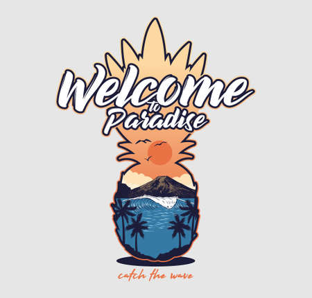 Welcome to paradise beautiful sea ocean view sunset palm mountain California Hawaii Malibu beach vintage fashion illustration in pineapple shape trendy T-shirt summer print poster sticker badge patch