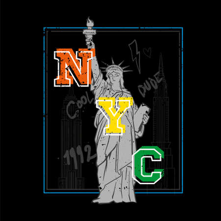 Dark fashion print design for clothes t shirt sweatshirt sticker poster with big Statue of Liberty from New York city also with famous buildings and difference doodles.