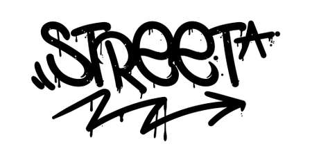 Decorative inscription Street in Graffiti style on wall by using aerosol spray paint or marker. Street style type for poster cover print clothes pin sticker. Criminal vandal design.