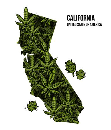 Map of California state United States of America (USA) made from natural plant leaves of marijuana, cannabis, weed, hemp CBD Oil, bud medical cannabis THC seamless pattern print design illustration. Stock Illustratie