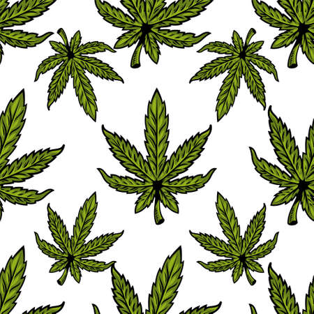 Seamless textile pattern with natural bio eco plant leaves of marijuana, cannabis, weed, hemp CBD Oil, bud medical cannabis THC.  Modern print design illustration for poster, sticker, banner, clothes.