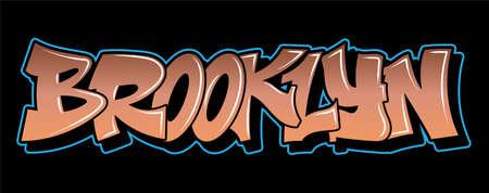 Brooklyn New York Graffiti decorative lettering vandal street art free wild style on the wall city urban illegal action by using aerosol spray paint. Underground hip hop vector illustration print Stock Illustratie