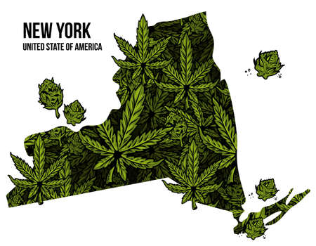 Map of New York state United States of America (USA) made from natural plant leaves of marijuana, cannabis, weed, hemp CBD Oil, bud medical cannabis THC seamless pattern print design illustration.