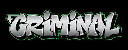 Inscription Criminal Graffiti decorative lettering vandal street art free wild style on the wall city urban illegal action by using aerosol spray paint. Underground hip hop type vector illustration. Stock Illustratie