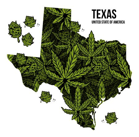 Map of Texas state United States of America (USA) made from natural plant leaves of marijuana, cannabis, weed, hemp CBD Oil, bud medical cannabis THC seamless pattern print design illustration.