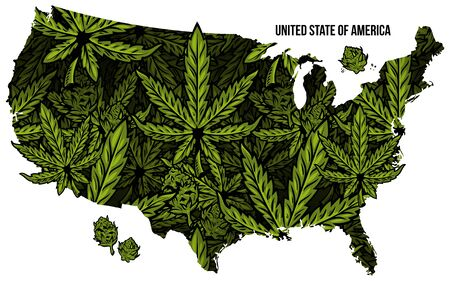 Map of United States of America (USA) made from natural plant leaves of marijuana, cannabis, weed, hemp CBD Oil, bud. Country with medical cannabis THC. Seamless pattern print design illustration. Stock Illustratie