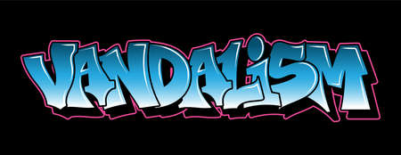 Graffiti inscription decorative lettering vandal street art free wild style on the wall city urban illegal action by using aerosol spray paint. Underground hip hop type. Modern vector illustration.
