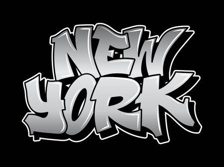 New York Graffiti decorative lettering vandal street art free wild style on the wall city urban illegal action by using aerosol spray paint. Underground hip hop type vector illustration print t shirt. Stock Illustratie