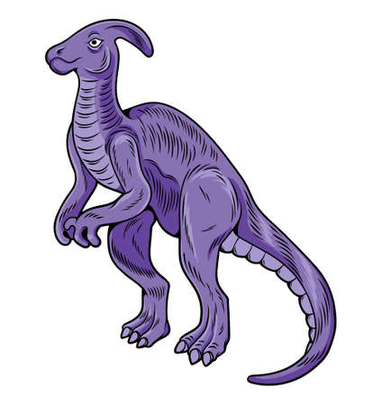 Parasaurolophus big dangerous dino dinosaur. Cartoon character illustration drawing engraving ink line art vector. Isolated white background for print design t shirt clothes sticker poster badge.