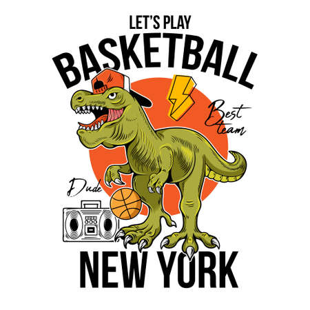 Cool dude T-REX Tyrannosaurus Rex dino dinosaur with ball playing in basketball. Cartoon character illustration vector Isolated white background for print design t shirt tee clothes sticker poster.