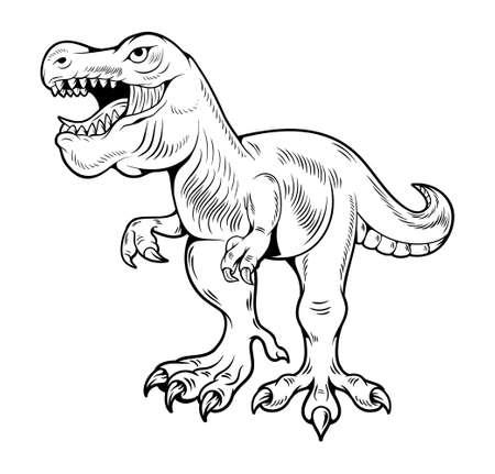 T-REX Tyrannosaurus Rex big dangerous dino running dinosaur. Cartoon illustration drawing engraving ink line art vector. Isolated white background for print design t shirt clothes sticker poster. Stock Illustratie