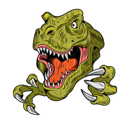 T-REX Tyrannosaurus Rex big dangerous head of dino dinosaur. Cartoon illustration drawing engraving ink line art vector. Isolated white background for print design t shirt clothes sticker poster. Stock Illustratie
