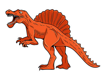 Spinosaurus big dangerous dino dinosaur. Cartoon character illustration drawing engraving ink line art vector. Isolated white background for print design t shirt clothes sticker poster badge.