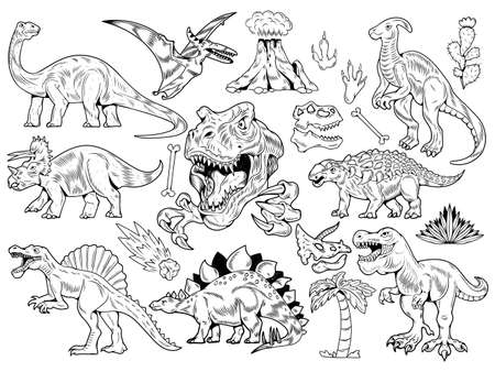 Set collection bundle of engraving dinosaurs. Cartoon monochrome illustration drawing ink line art vector school education. Isolated white background for print design t shirt clothes sticker poster. Stock Illustratie