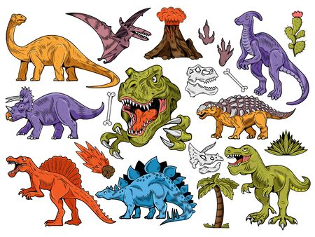 Set collection bundle of engraving dinosaurs. Cartoon colored illustration drawing ink line art vector school education. Isolated white background for print design t shirt clothes sticker poster.
