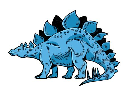 Stegosaurus big dangerous dino dinosaur. Cartoon character illustration drawing engraving ink line art vector. Isolated white background for print design t shirt clothes sticker poster badge.