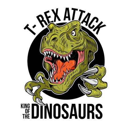 T-REX Tyrannosaurus Rex big dangerous head of dino dinosaur. Cartoon illustration drawing engraving ink line art vector. Isolated white background for print design t shirt tee clothes sticker poster.