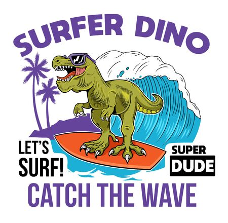 Funny kid T-REX Tyrannosaurus Rex surfer dino dinosaur riding on big wave. Cartoon character illustration vector. Isolated white background for print design t shirt tee clothes sticker poster badge. Stock Illustratie