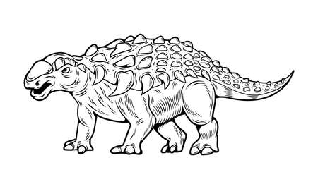Ankylosaurus big dangerous dino reptile dinosaur. Cartoon illustration, drawing, engraving, ink, line art, vector. Isolated white background for print design t shirt clothes sticker badge poster.