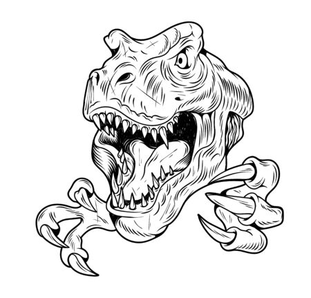 T-REX Tyrannosaurus Rex big dangerous head of dino dinosaur. Cartoon illustration drawing engraving ink line art vector. Isolated white background for print design t shirt clothes sticker poster. Illustration