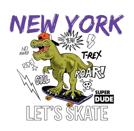 Cool dude T-REX Tyrannosaurus Rex dino dinosaur riding on skate board New york. Cartoon character illustration vector Isolated white background for print design t shirt tee clothes sticker poster Stock Illustratie