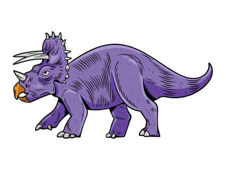 Triceratops big dangerous dino dinosaur. Cartoon character illustration drawing engraving ink line art vector. Isolated white background for print design t shirt clothes sticker poster badge. Stock Illustratie