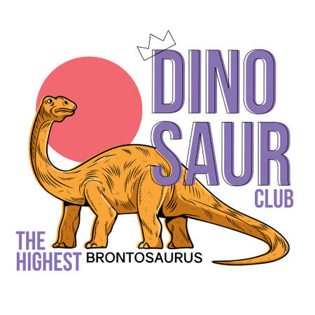 Brontosaurus the highest dino dinosaur. Cartoon character illustration drawing engraving ink line art vector. Isolated white background for trendy kid print design t shirt clothes sticker poster badge