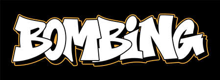 Graffiti inscription bombing decorative lettering street art free wild style on the wall vandal urban illegal action by using aerosol spray paint. Underground hip-hop vector old school illustration Stock Illustratie