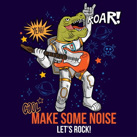 Engraving cool dude in space suit rock star dino t-rex play rock music on electric guitar between stars planets galaxies. Cartoon comics pop art for print design t-shirt apparel poster for children.