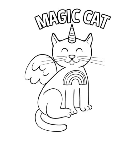 Cute white magic cat unicorn doodle style. Trendy print design modern vector cartoon illustration for children kid girls. Fashion print design for t-shirt clothes tee coloring badge patch sticker pin.