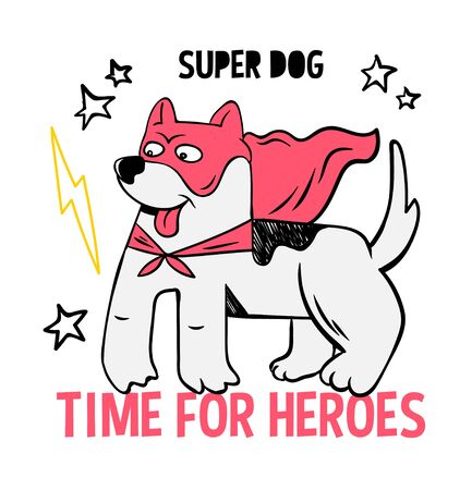 Superhero super cute dog in mask and red cloak. doodle print design modern vector cartoon illustration for children kid. Fashion print design for t-shirt clothes tee coloring badge patch sticker pin. Illustration