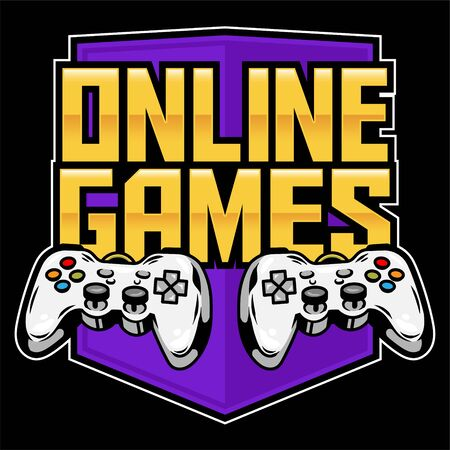 Icon sport logo of gamepads for play arcade video online games for gamer and control the game. Clothes t-shirt design vector custom illustration for player of geek culture. Print design for apparel.