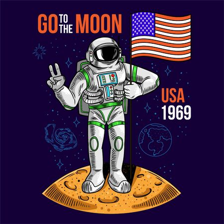 Engraving cool dude in space suit astronaut hold American USA flag on moon the first flight on moon space program Apollo. Cartoon comics pop art for print design t-shirt apparel poster for children. Ilustração