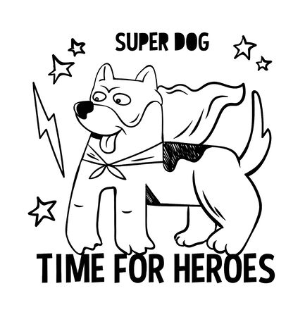 Superhero super cute dog in mask and red cloak. doodle print design modern vector cartoon illustration for children kid. Fashion print design for t-shirt clothes tee coloring badge patch sticker pin. 矢量图像