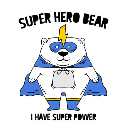 Superhero super cute white bear in mask. doodle print design modern vector cartoon illustration for children kid girls Fashion print design for t-shirt clothes tee coloring badge patch sticker pin 일러스트