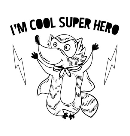 Superhero super cute raccoon in mask and cloak. doodle print design modern vector cartoon illustration for children kid. Fashion print design for t-shirt clothes tee coloring badge patch sticker pin.