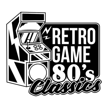 Retro game 80's classics old game machine for play retro arcade video game for gamers and geek culture people vintage gamepad. Retro vector print design illustration for poster sticker t-shirt apparel Vettoriali
