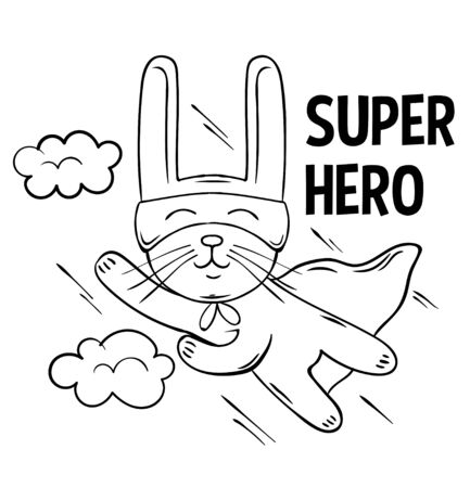 Superhero cute white rabbit flies into the sky. doodle print design modern vector cartoon illustration for children kid. Fashion print design for t-shirt clothes tee coloring badge patch sticker pin. 일러스트