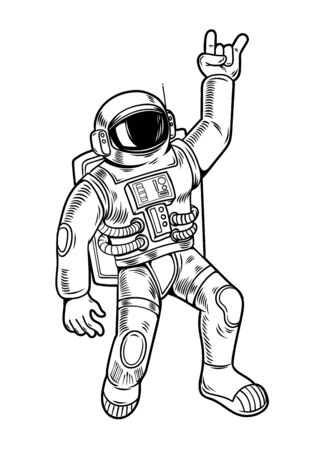 Engraving draw with funny cool dude astronaut spaceman in space suit. Vintage cartoon character illustration comics pop art style isolated white background. Print design for t shirt apparel. Ilustração