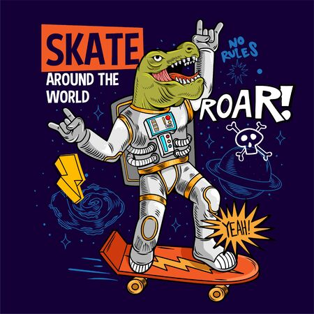 Engraving funny cool dude in space suit skater dino green t rex ride on space skate board between stars planets galaxies. Cartoon comics pop art for print design t shirt apparel poster for children.