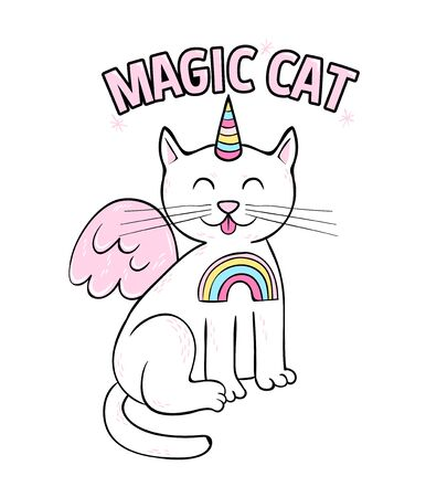 Cute pink magic cat unicorn doodle style. Trendy print design modern vector cartoon illustration for children kid girls. Fashion print design for t-shirt clothes tee coloring badge patch sticker pin. Ilustração