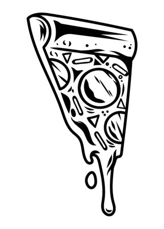 Slice of Italian pizza, piece of hot and delicious street food dish. Vintage cartoon vector illustration for print logo design for poster apparel sticker badge for restaurants cafes delivery service.