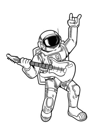Engraving draw with cool dude astronaut spaceman rock star play on guitar in space suit. Vintage cartoon character illustration comics pop art style isolated white background. Print design for t shirt  イラスト・ベクター素材