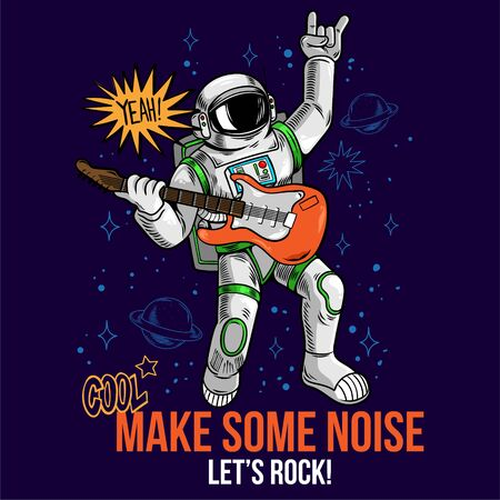 Engraving cool dude in space suit rock star astronaut play rock music on electric guitar between stars planets galaxies. Cartoon comics pop art for print design t-shirt apparel poster for children.