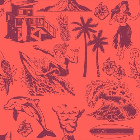 Vintage monochrome seamless textile pattern with surfing, hula girl, waves, summer, beach, palms, Hawaii flowers, dolphin, beach house, volcano, parrot Custom graphic apparel print design illustration