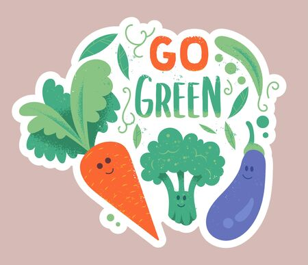 Cute characters of green vegetables carrot broccoli and eggplant in hipster cartoon style with textures and phrase Go green. Modern vector doodle illustration. Healthy vegan vegetarian eco lifestyle