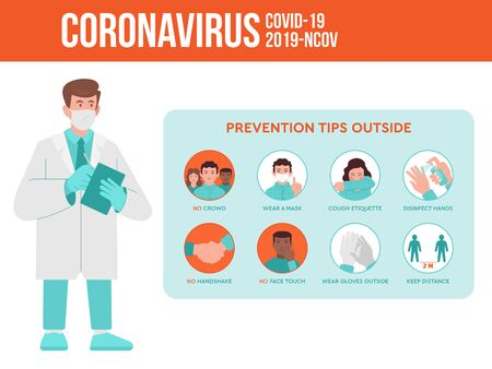 Medical worker, doctor give a preventions tips of coronavirus quarantine pandemic situation for the people outside. Covid-19, 2019-nCoV virus set infographic instruction. Flat design illustration.  イラスト・ベクター素材