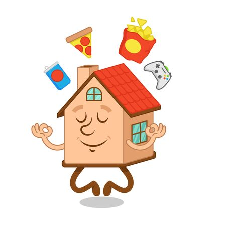 artoon character of cute relax house which enjoy in the yoga the lotus position with snacks, foods, joystick around. Modern vector flat design illustration. Quarantine epidemic situation, stay home.